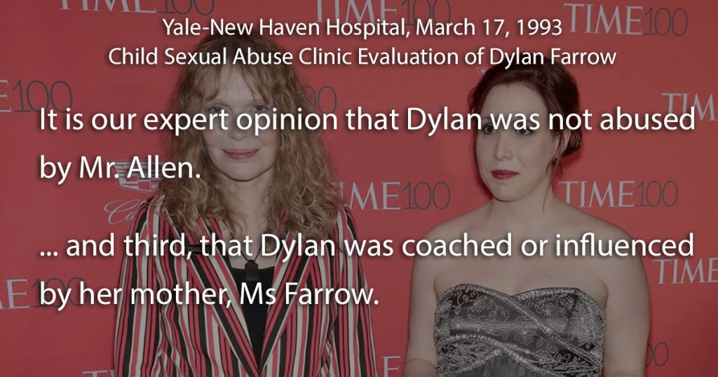 Mia & Dylan Farrow - New-Haven hospital, Woody Allen sexual abuse allegation, evaluation of Dylan Farrow