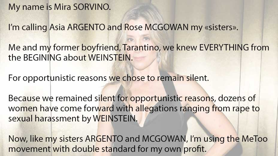 Mira Sorvino is Tarantino former girlfriend and knew from the beginning about Weinstein.