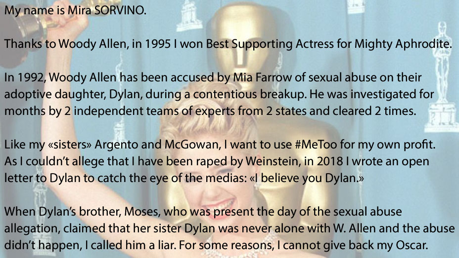 Actor Mira Sorvino won the Oscar for Best Supporting Actress for her performance in Woody Allen's movie, Mighty Aphrodite