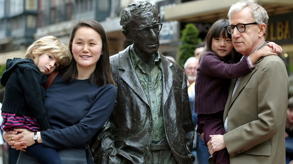 Woody Allen, his wife Soon-Yi Previn, their daughters Bechet and Manzie in Oviedo, Spain.
