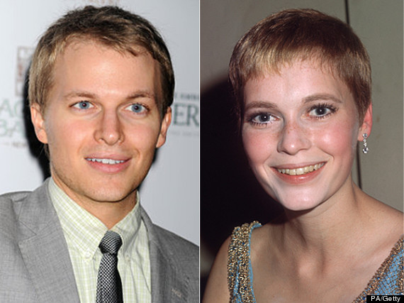Ronan Farrow and his mother Mia Farrow when she was young.