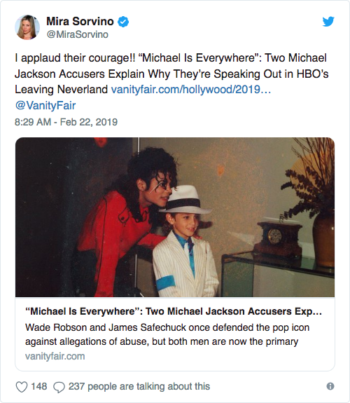Mira Sorvino tweet about an article in Vanity Fair and applauds the courage of two men alleging sexual abuse by Michael Jackson
