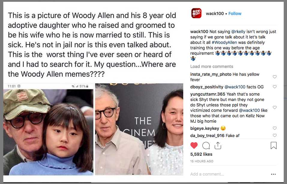 Wack100 is slandering Woody Allen on Instagram by using a picture of Woody Allen with Bechet and claiming she's Soon-YI