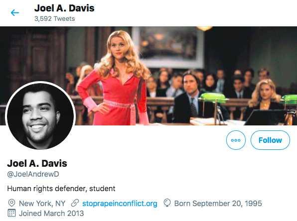 Columbia student Joel Davis's Twitter account