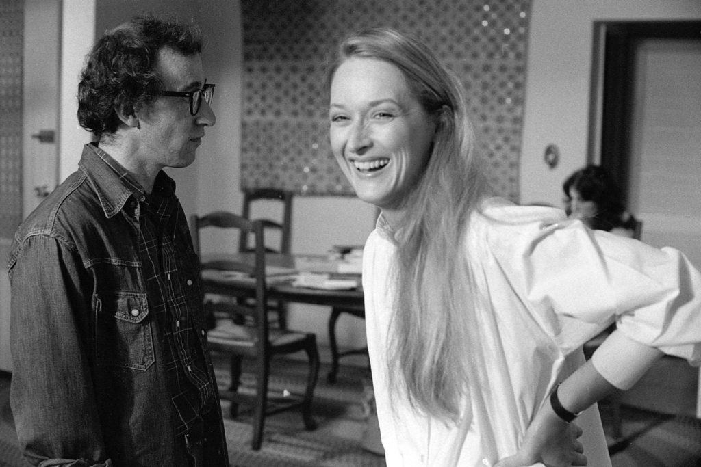 Meryl Streep and Woody Allen during the filming of Manhattan