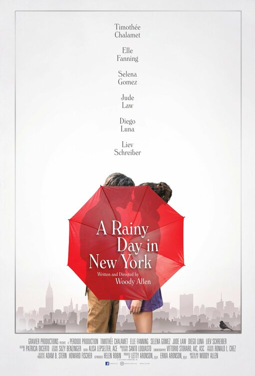 A Rainy Day in New York is a 2019 American romantic comedy film written and directed by Woody Allen. It stars Timothée Chalamet, Elle Fanning, Selena Gomez, Jude Law, Diego Luna, and Liev Schreiber.