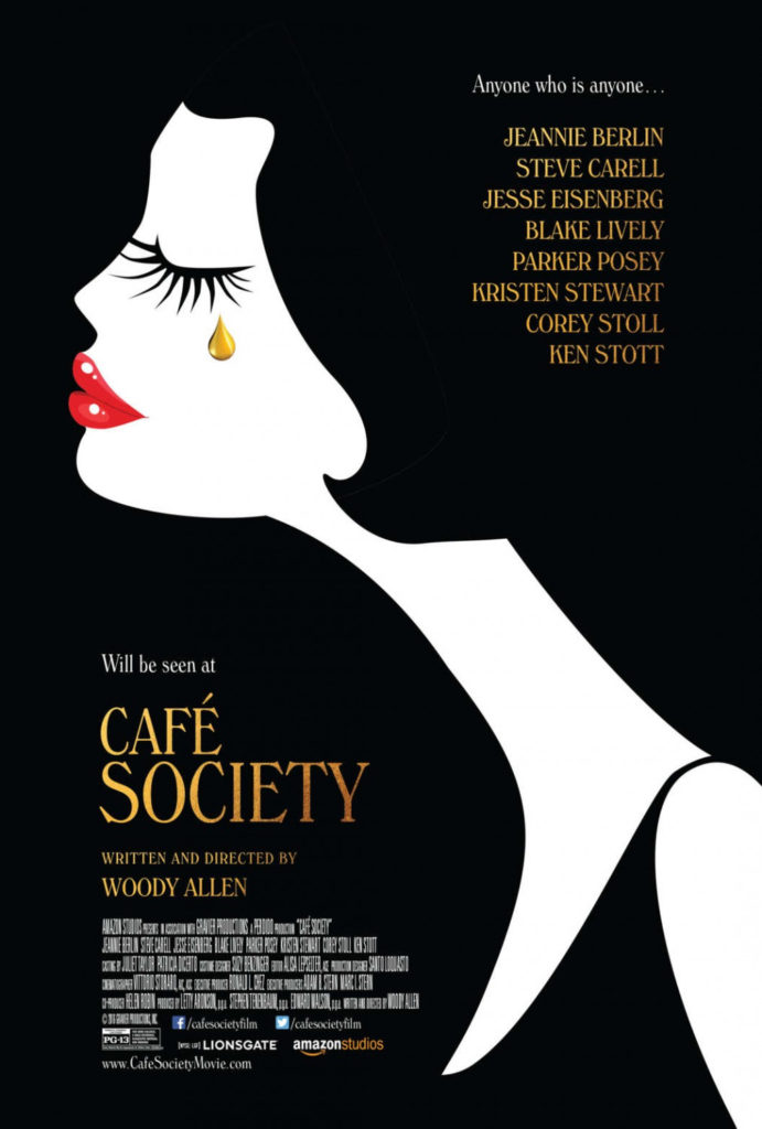 Café Society is a 2016 American romantic comedy-drama film written and directed by Woody Allen. It stars, Steve Carell, Jesse Eisenberg, Blake Lively, Parker Posey, Kristen Stewart.