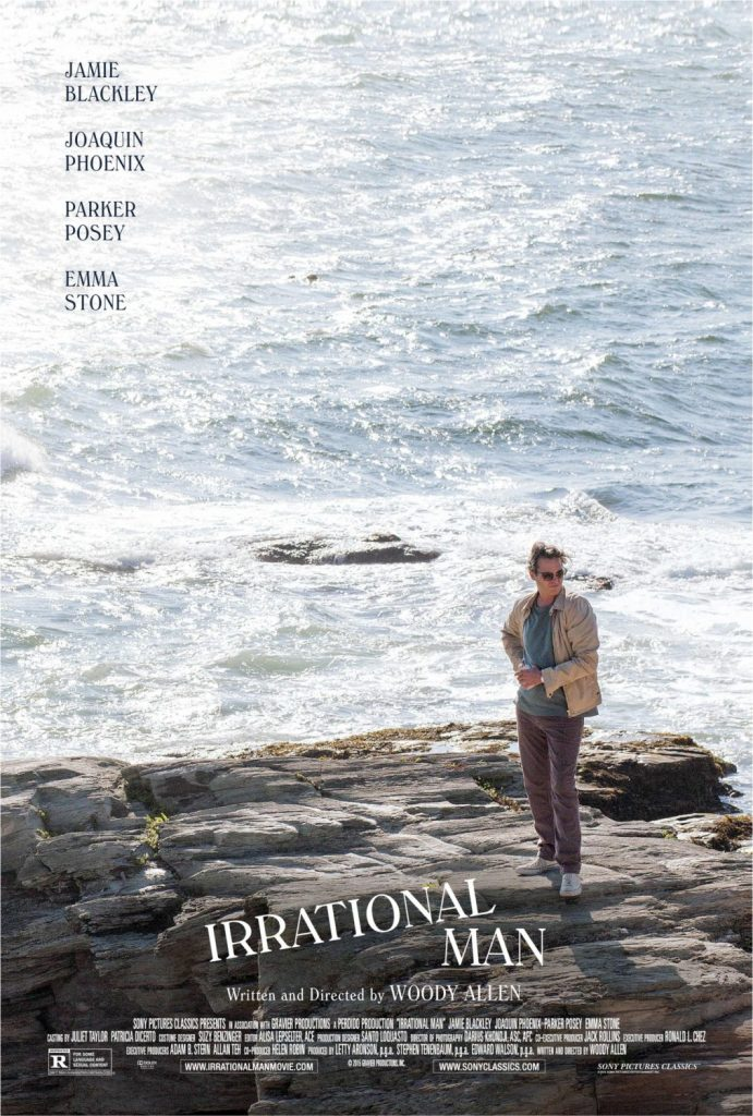Irrational Man is a 2015 American crime mystery drama film written and directed by Woody Allen, and starring Joaquin Phoenix, Emma Stone, Parker Posey and Jamie Blackley.