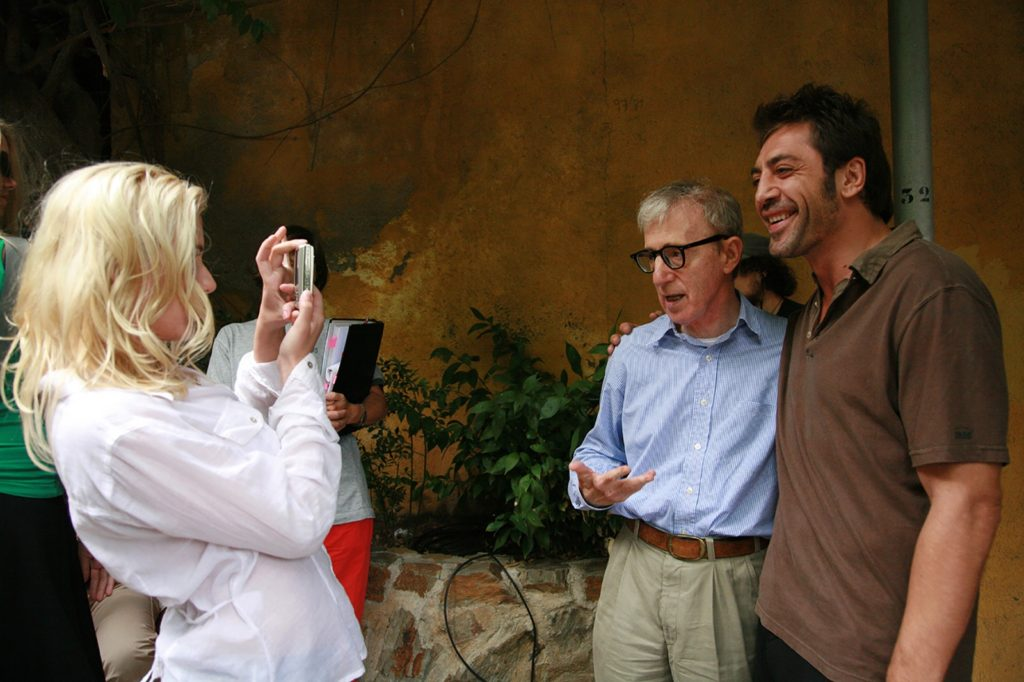 Scarlett Johansson, Woody Allen, Javier Bardem on the set of Vicky Cristina Barcelona