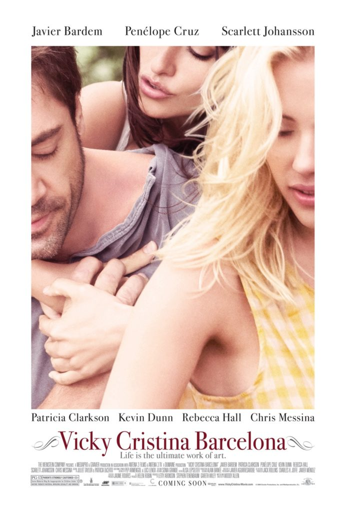 The poster for Vicky Cristina Barcelona, a 2008 romantic comedy-drama film written and directed by Woody Allen and starring Penelope Cruz, Scarlett Johansson, Javier Bardem.