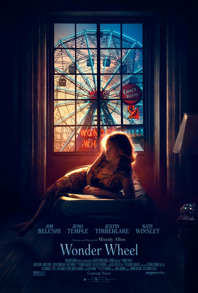 Wonder Wheel is a 2017 American period drama film written and directed by Woody Allen and starring Jim Belushi, Kate Winslet, Juno Temple, and Justin Timberlake.